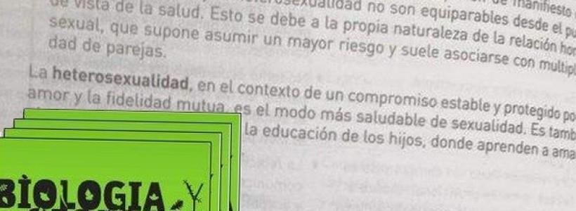 """Un libro escolar afirma que las """"conductas homosexuales"""" son un riesgo para la salud"""