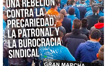 Marcha en apoyo a la huelga de los trabajadores de Movistar